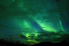 BLUE GREEN AURORA IN THE ARCTIC SKY stock images