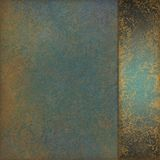 Blue green background with old marbled gold texture design and sidepanel ribbon Royalty Free Stock Images