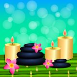 Blue green background with Spa elements. Green bamboo, stones, f. Lowers, candles. Vector illustration Stock Images