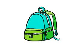 Blue and green Backpack, illustration. Blue and green Backpack, Bag,  It is an illustration of hiking backpack Vector, for Education , illustration Royalty Free Stock Images