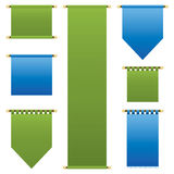 Blue and green banners. Blue and green vertical banners isolated on white Royalty Free Stock Photos