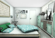 Blue and green bedroom interior design Royalty Free Stock Image