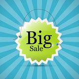 Blue, Green Big Sale Label Background Stock Photos