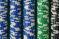 Blue, Green, Black Poker Chips Royalty Free Stock Image