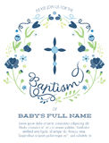 Blue and Green Boy's Baptism/Christening Invitation with Cross Design and Flowers - Hight Resolution or Vector. A wreath of blue and green flowers and vines stock illustration