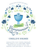 Blue and Green Boys First Holy Communion Invitation with Chalice and Flowers Royalty Free Stock Images