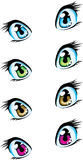 Blue, green, brown and violet anime eyes Stock Image