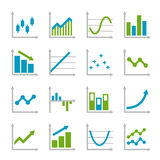 Blue and Green Business Graph Icons Set. Vector. Blue and Green Business Graph Icons Set Stock Images