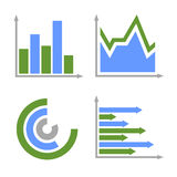 Blue and Green Business Graph Icons Set. Vector Royalty Free Stock Photos