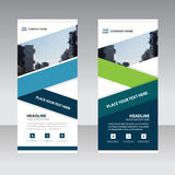 Blue green Business Roll Up Banner flat design template royalty free illustration