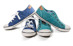 Blue and green canvas sneakers Stock Photo