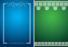Blue and green vector cards with white floral frames Royalty Free Stock Photography