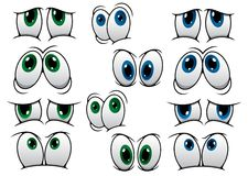 Blue and green cartoon eyes Royalty Free Stock Photography