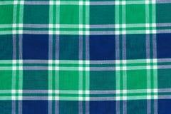 Blue green checkered cotton. Background Royalty Free Stock Photos