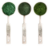 Blue green, chlorella and spirulina Royalty Free Stock Images
