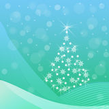 Blue and green Christmas background with fir tree. Abstract Christmas tree with sparkling snowflakes, stars, snow drifts, a snowfall on a blue and green Stock Images