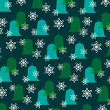 Blue green Christmas bells and snowflakes Royalty Free Stock Photo