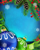 Blue and green Christmas ornaments with ribbon on  Royalty Free Stock Image