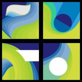 4 blue & green circle dynamic background Royalty Free Stock Photography