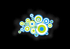 Blue, green circles. Vector. Blue, green circles on black background. Vector art Royalty Free Illustration