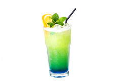 Blue green cocktail with orange and mint Royalty Free Stock Photo