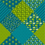 Blue and green color tulip flower and geometry motif patchwork. royalty free illustration
