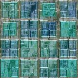 Blue green colored glass square mosaic pattern texture seamless background Royalty Free Stock Image