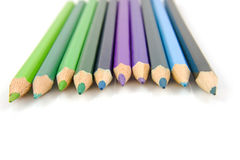 Blue and green colored pencils Royalty Free Stock Image