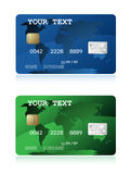 Blue and green credit card illustration. Two blue and green credit card illustration Royalty Free Stock Photos
