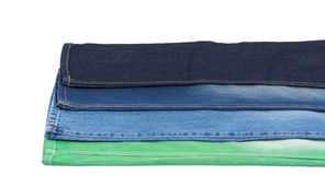 Blue and green denim fabric Stock Image