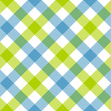 Blue green diagonal checkered plaid seamless pattern Stock Images