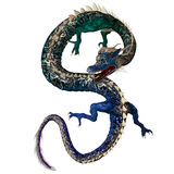 Blue Green Dragon. A creature of myth and fantasy the dragon is a fierce monster with horns and large teeth stock illustration