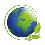 Blue and green earth with leaves vector illustration