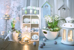 Blue and green Easter decorations. With hyacinth flowers royalty free stock image