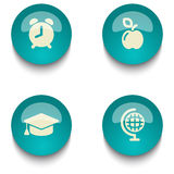 Blue green education web button set. Blue green web button set on white background Stock Photo