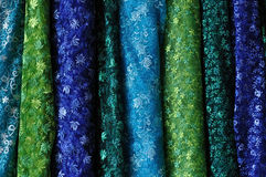 Blue and green fabric Stock Photos