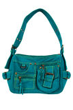 Blue-green fabric women bag Stock Image