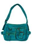 Blue-green fabric women bag Stock Image