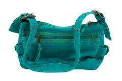 Blue-green fabric women bag  isolated Stock Photos