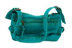 Blue-green fabric women bag  isolated Stock Photos