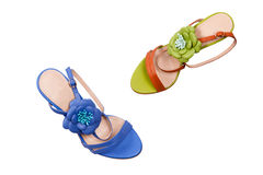 Blue and green female shoes. Royalty Free Stock Photography