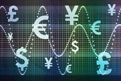 Blue Green Financial Sector Global Currencies Stock Photos