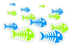 Blue and green fish bone stickers. Background with blue and green fish bone stickers with shadow Stock Photos