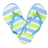 Blue and Green Flip Flop Sandals in Heart Shape. Isolated on White royalty free stock image
