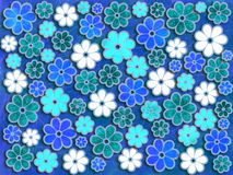 Blue and Green Flower Art Pattern Royalty Free Stock Image