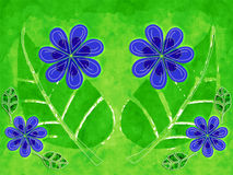 Blue and Green Flower Art Pattern Royalty Free Stock Photo