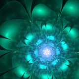 Blue and green fractal flower Royalty Free Stock Images