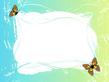 Blue green frame with butterflies Royalty Free Stock Photography