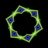 Blue and Green Geometric Frame. An abstract fractal frame done in shades of blue and green royalty free illustration