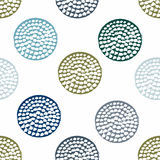 Blue, green geometric seamless pattern with grunge polka dot on white background. Textured circles. Geometrical background for wrapping paper, website Stock Images